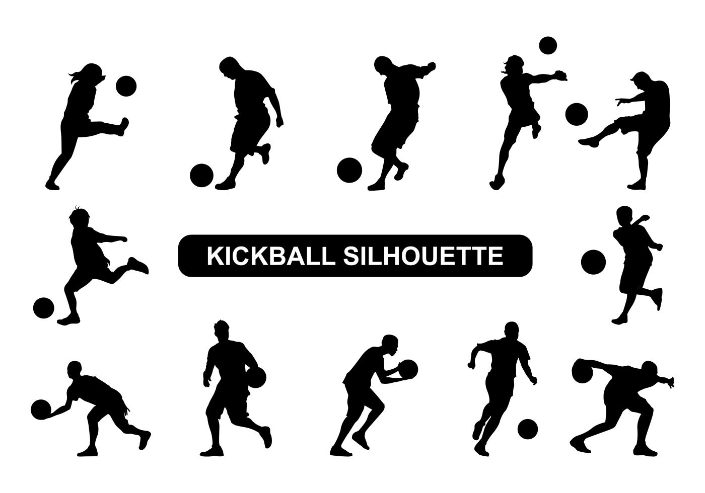 Kickball Players Silhouette Vector