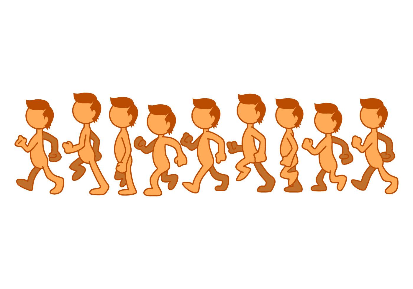 Free Kids Walk Cycle Illustration Vector
