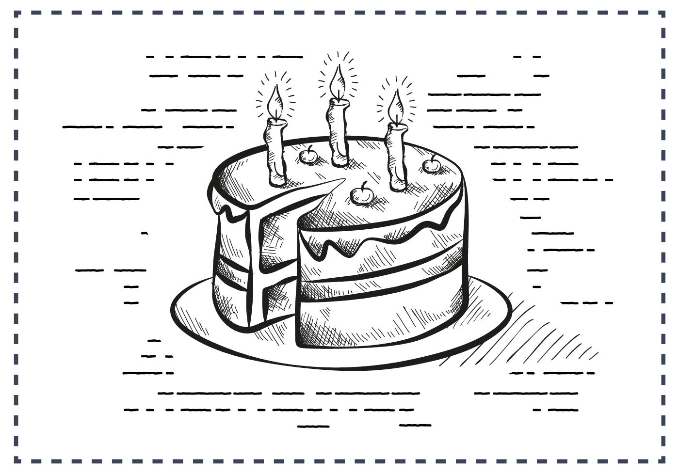 Free Vintage Hand Drawn Birthday Cake Background