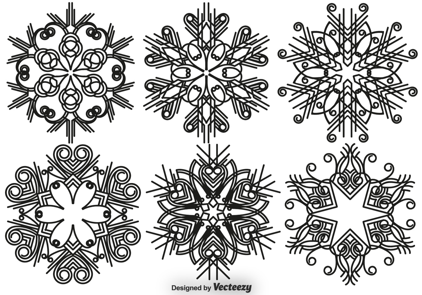 Elegant Snowflakes Vector Set
