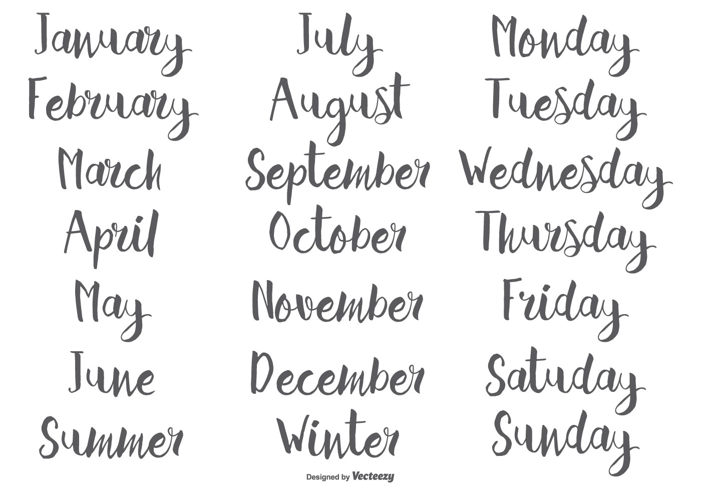 Hand Drawn Calligraphic Months And Days Of The Week