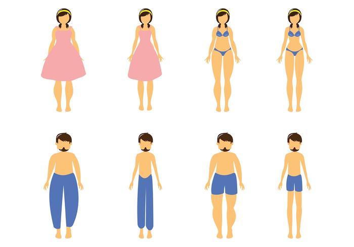 Free Cartoon Fat And Slim Woman And Man Vector