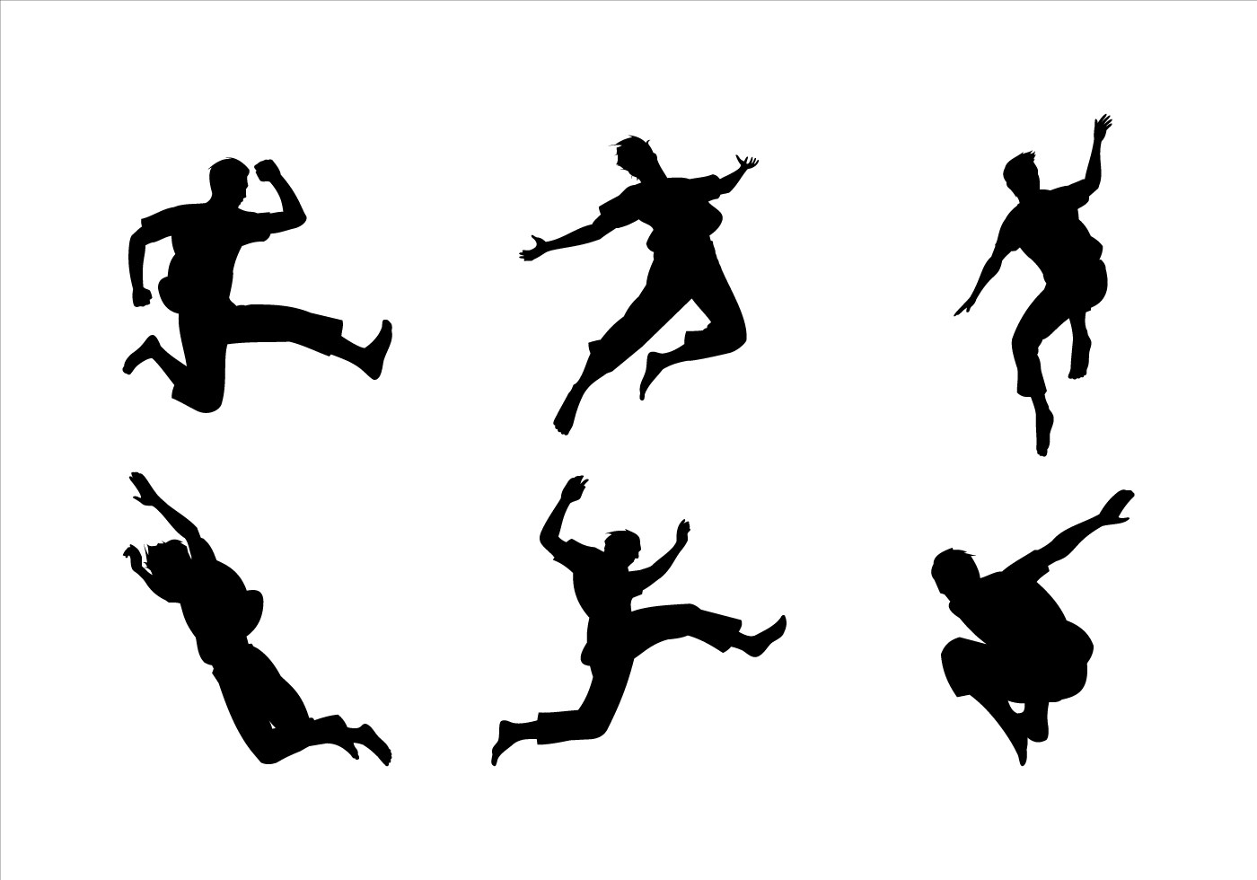 Man Jumping Siluetas Vector