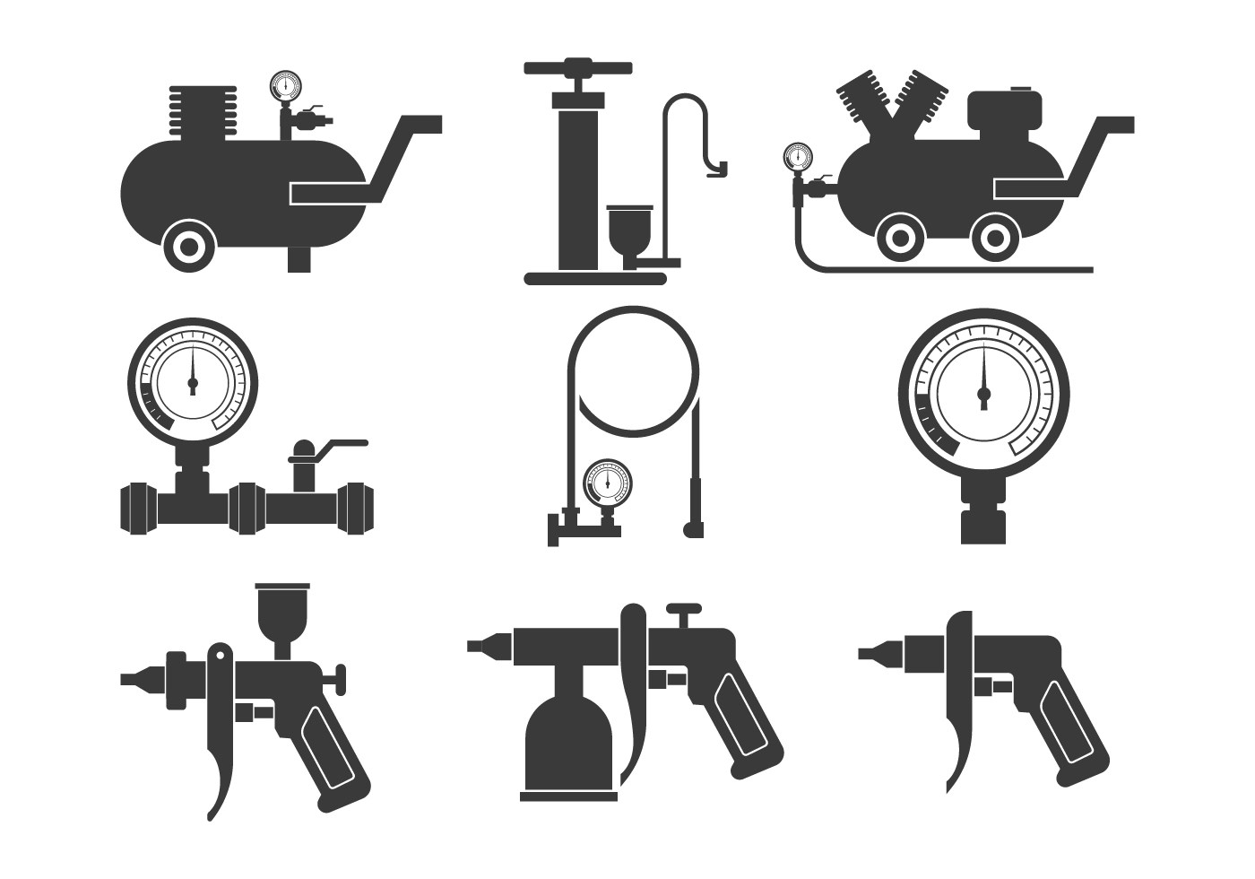 Air Pump Icons Set