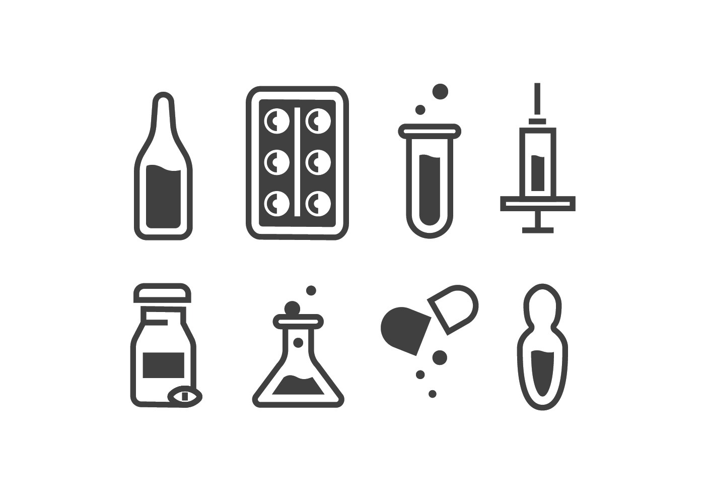 Medical Ampoule And Pill Icon Vectors