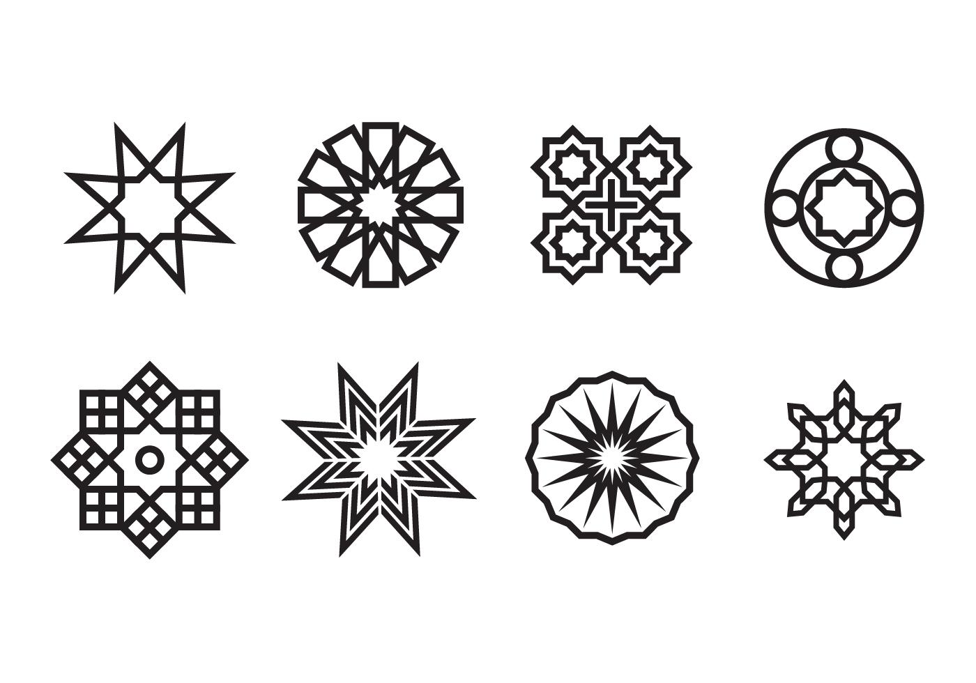 Geometric Islamic Ornaments Vector