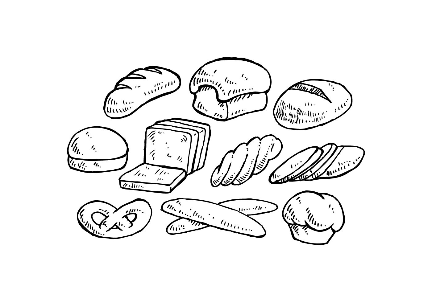 Hand Drawn Bread Vector Set Illustration