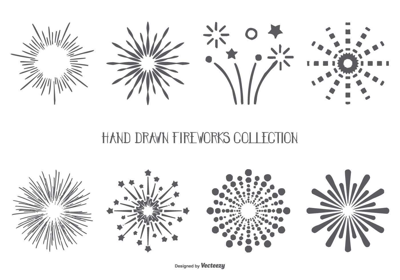 Hand Drawn Style Fireworks Shapes Collection
