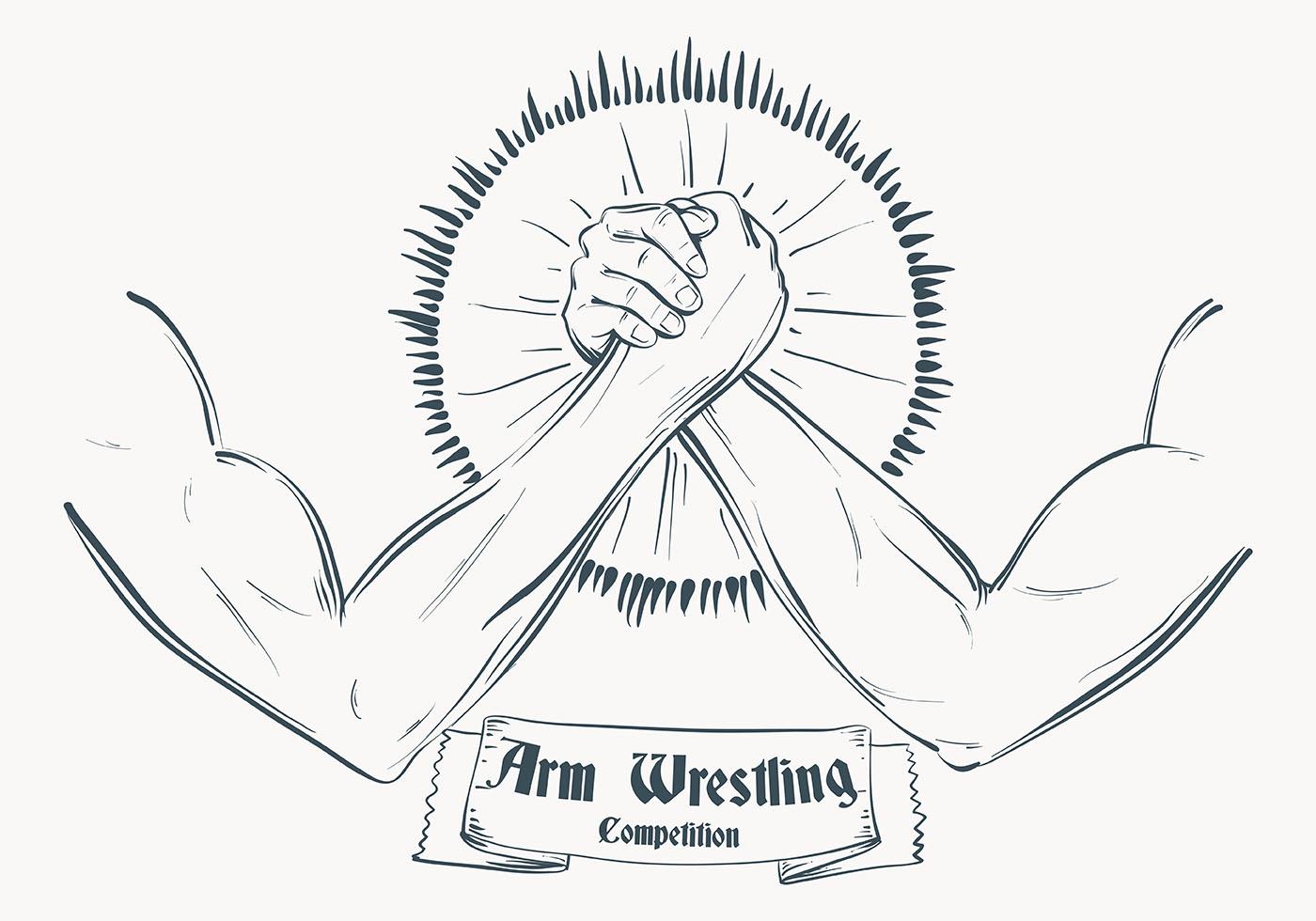 Sketched Arm Wrestling Illustration Template