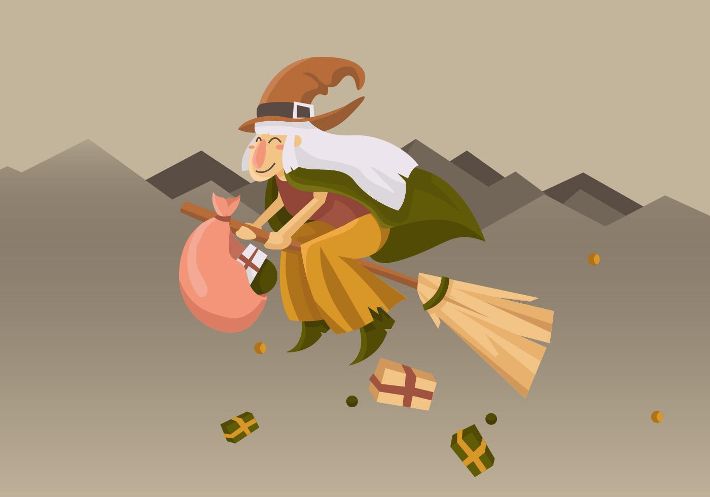 Cute Befana Flying With Broom Vector Illustration