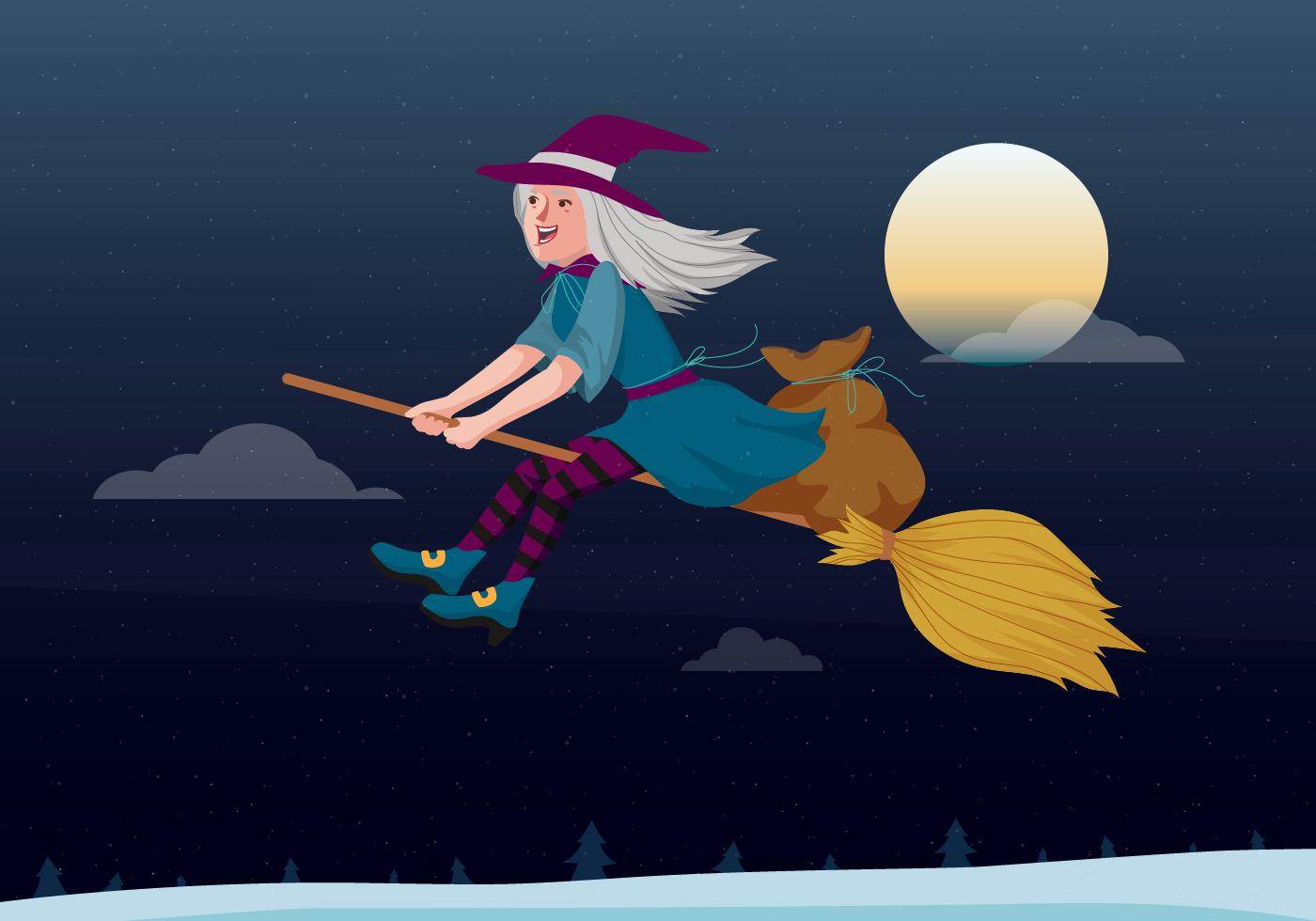 Befana Flying On A Broomstick Vector Illustration