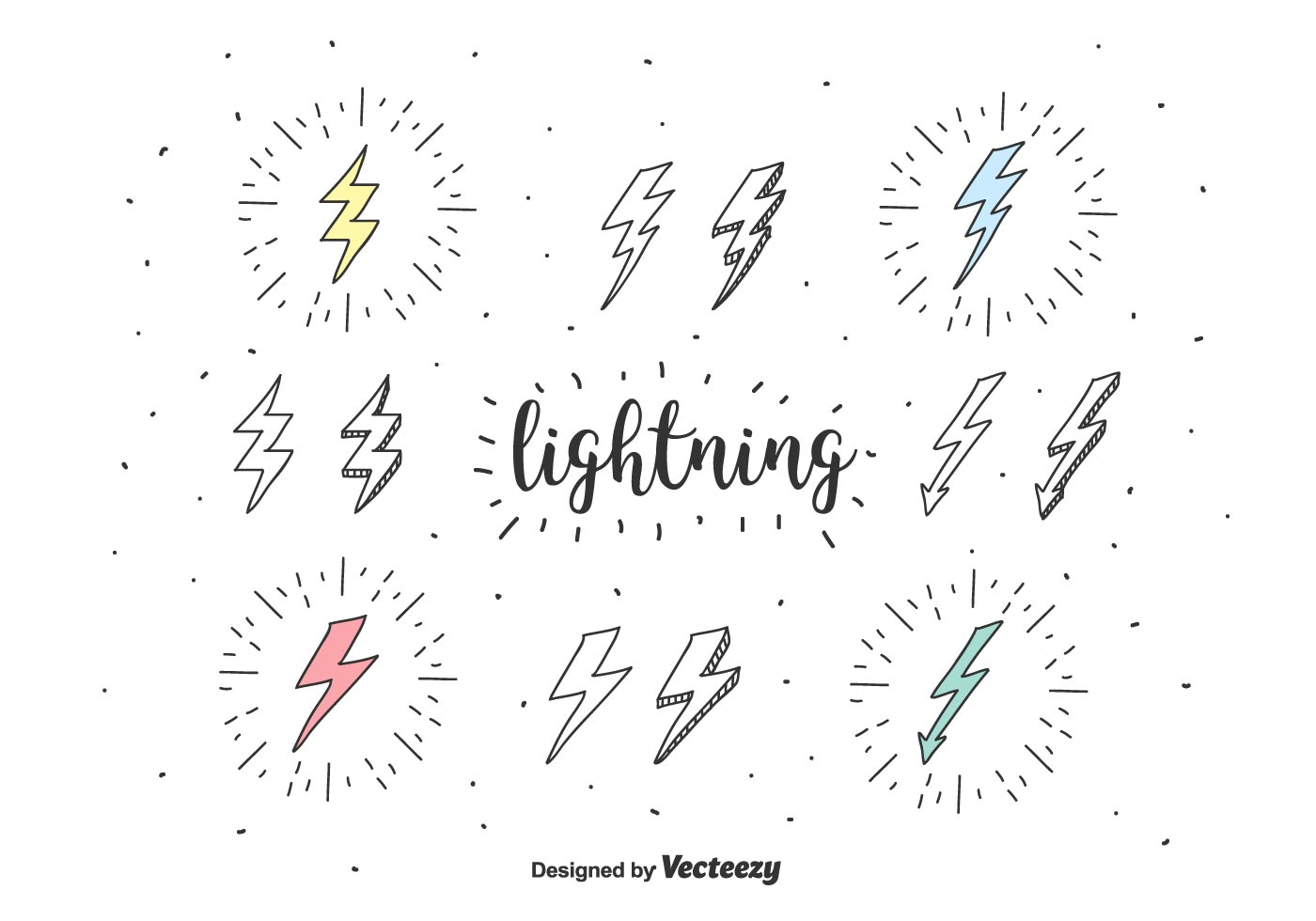 Doodle Lightning Icons Vector
