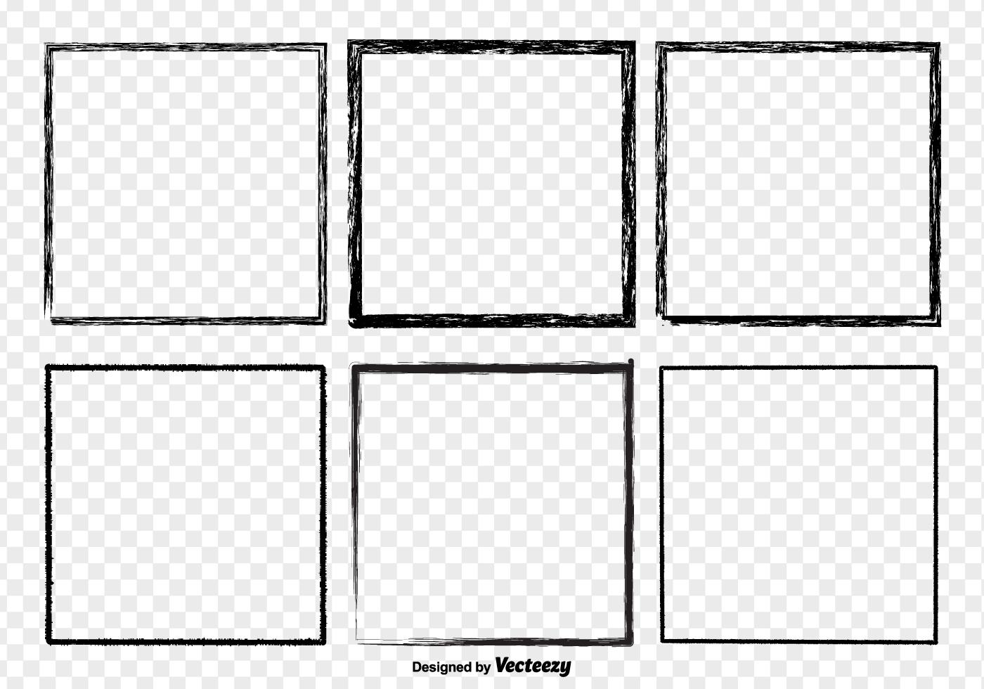 Black Grunge Distressed Border Frames Vector Set