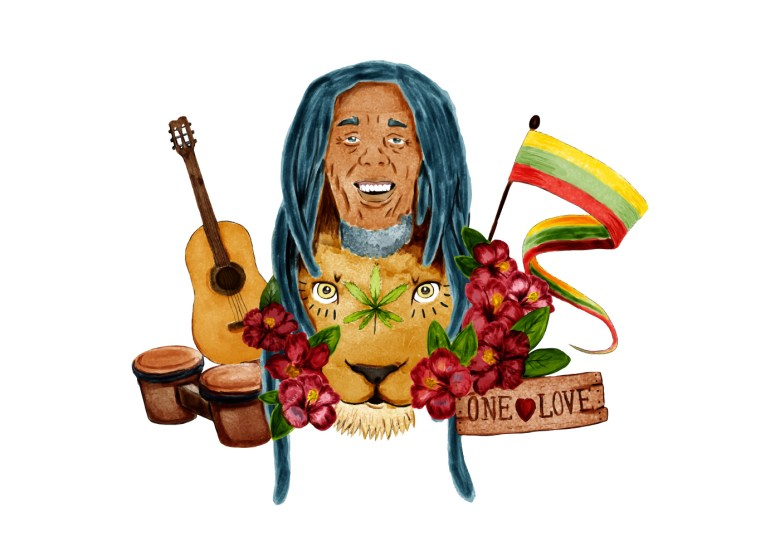 bob marley with jamaica flat lion bongo drum and guitar - download