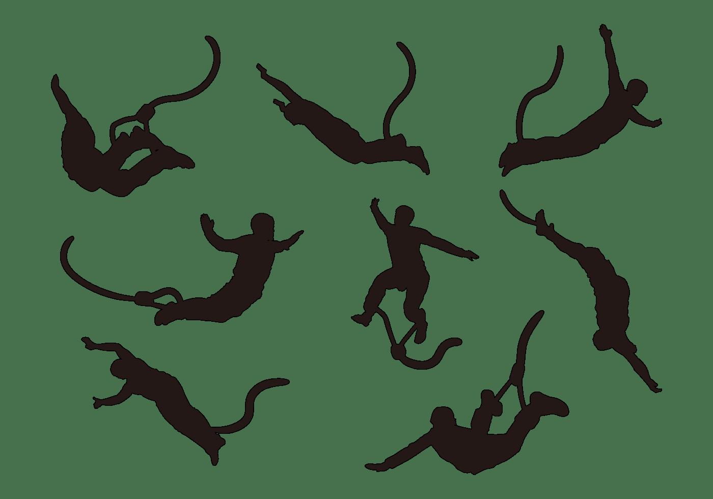 Bungee Saltar Siluetas Vector