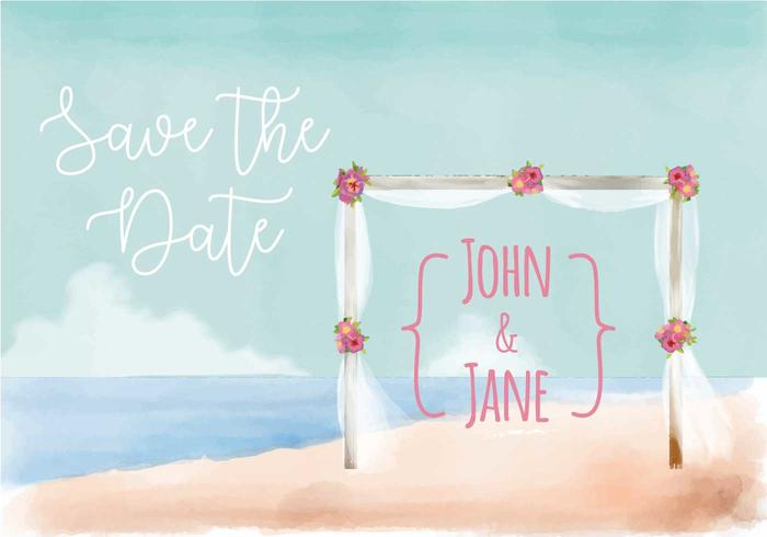 Beach Wedding Invitation Watercolor Vector