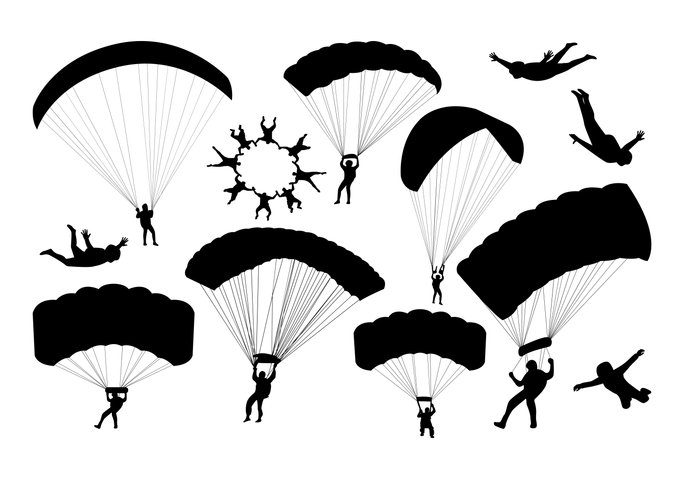 Skydiving Silhouettes Vector