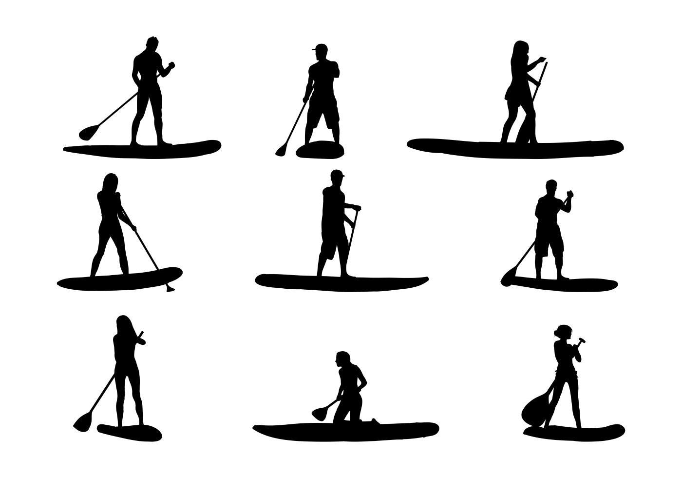 Paddleboard Silhouettes Vectors