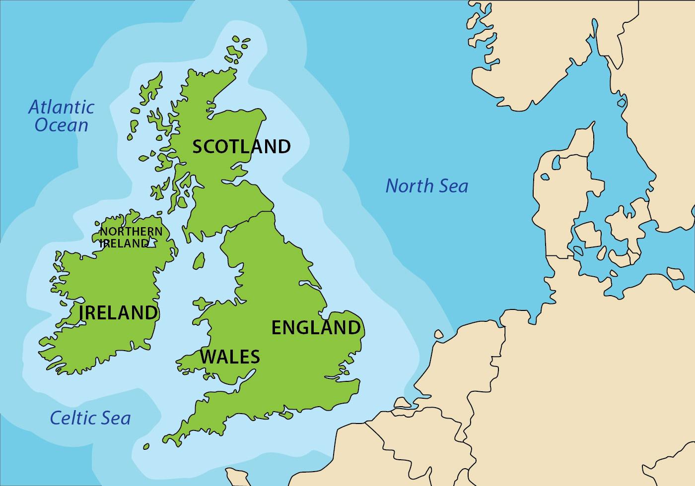 Republic Of Ireland And British Isles Map