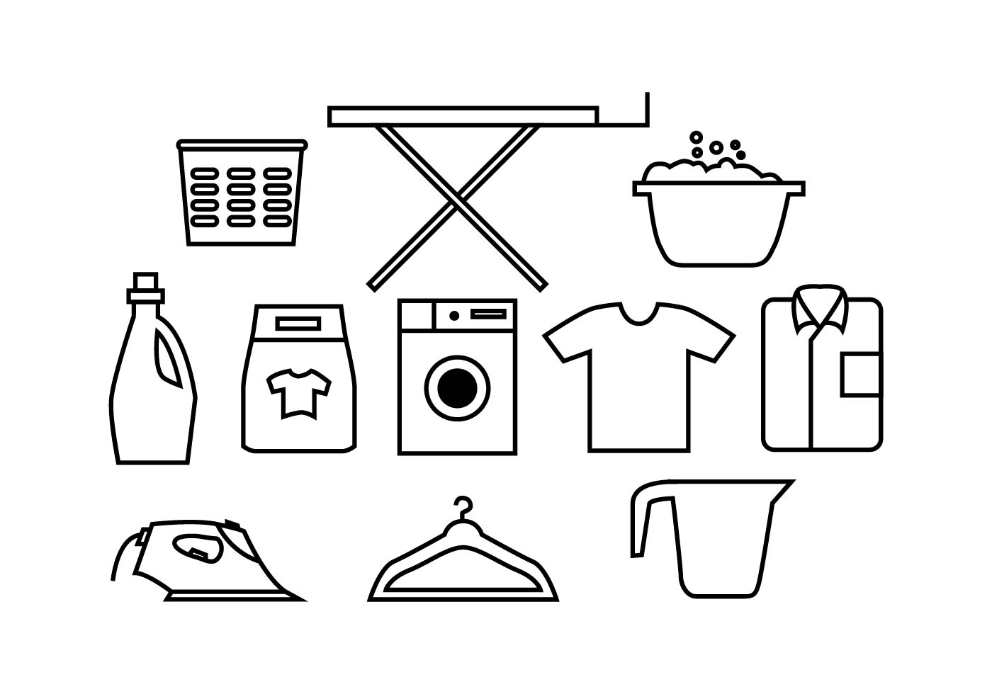 Laundry Icons Free Vector Art