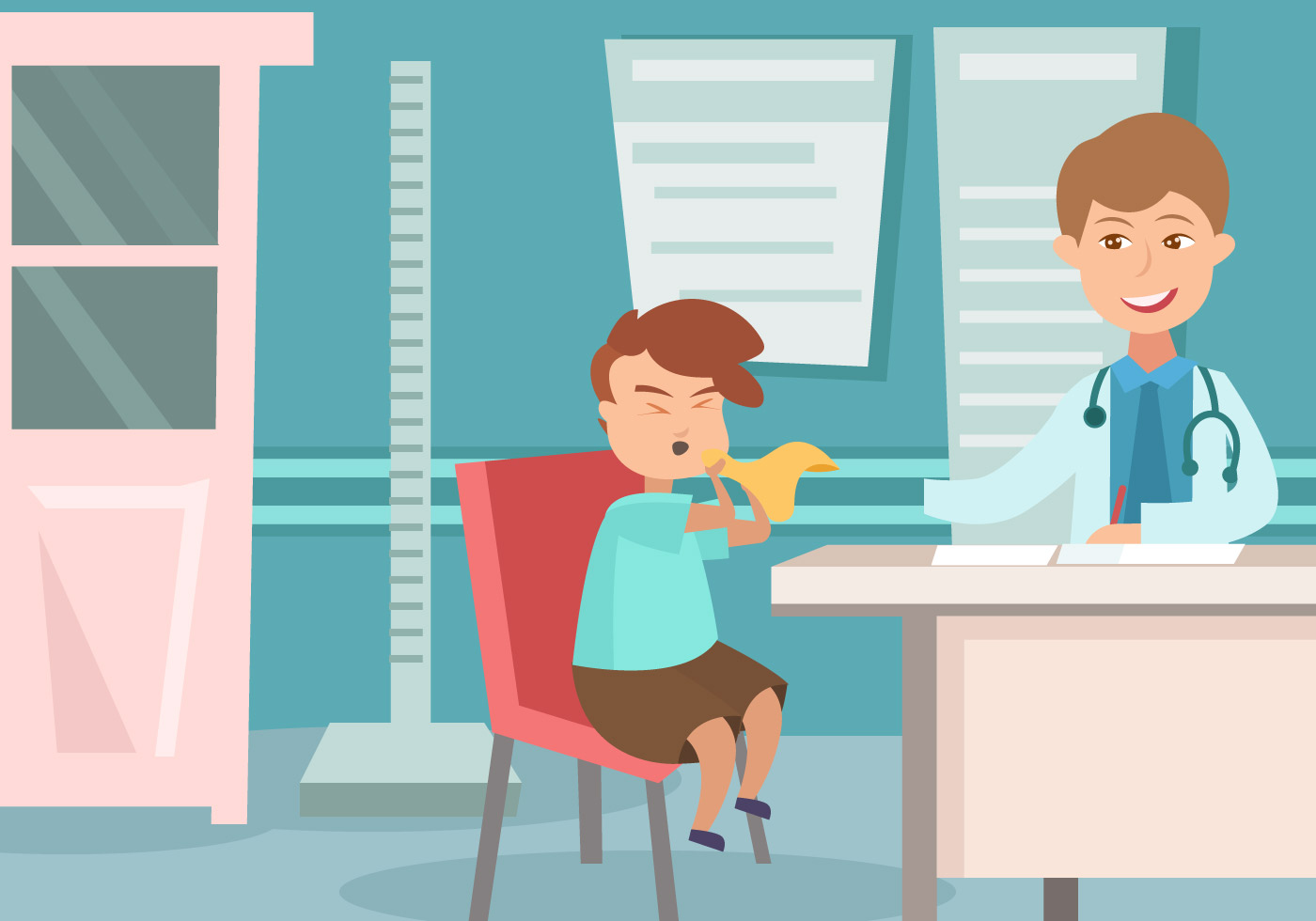 Pediatrician With A Kid Vector