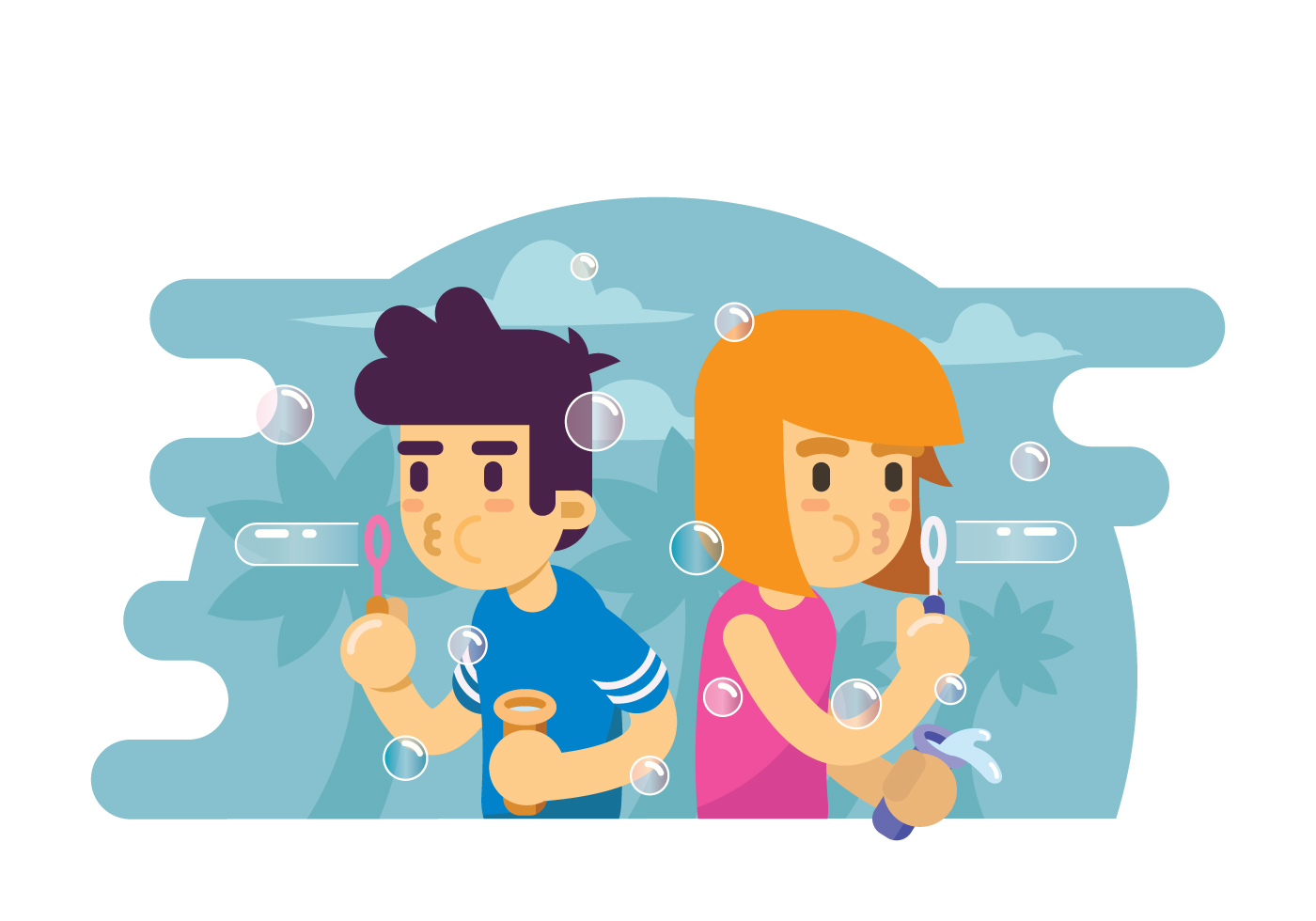 Two Kids Playing Bubble Blower Illustration