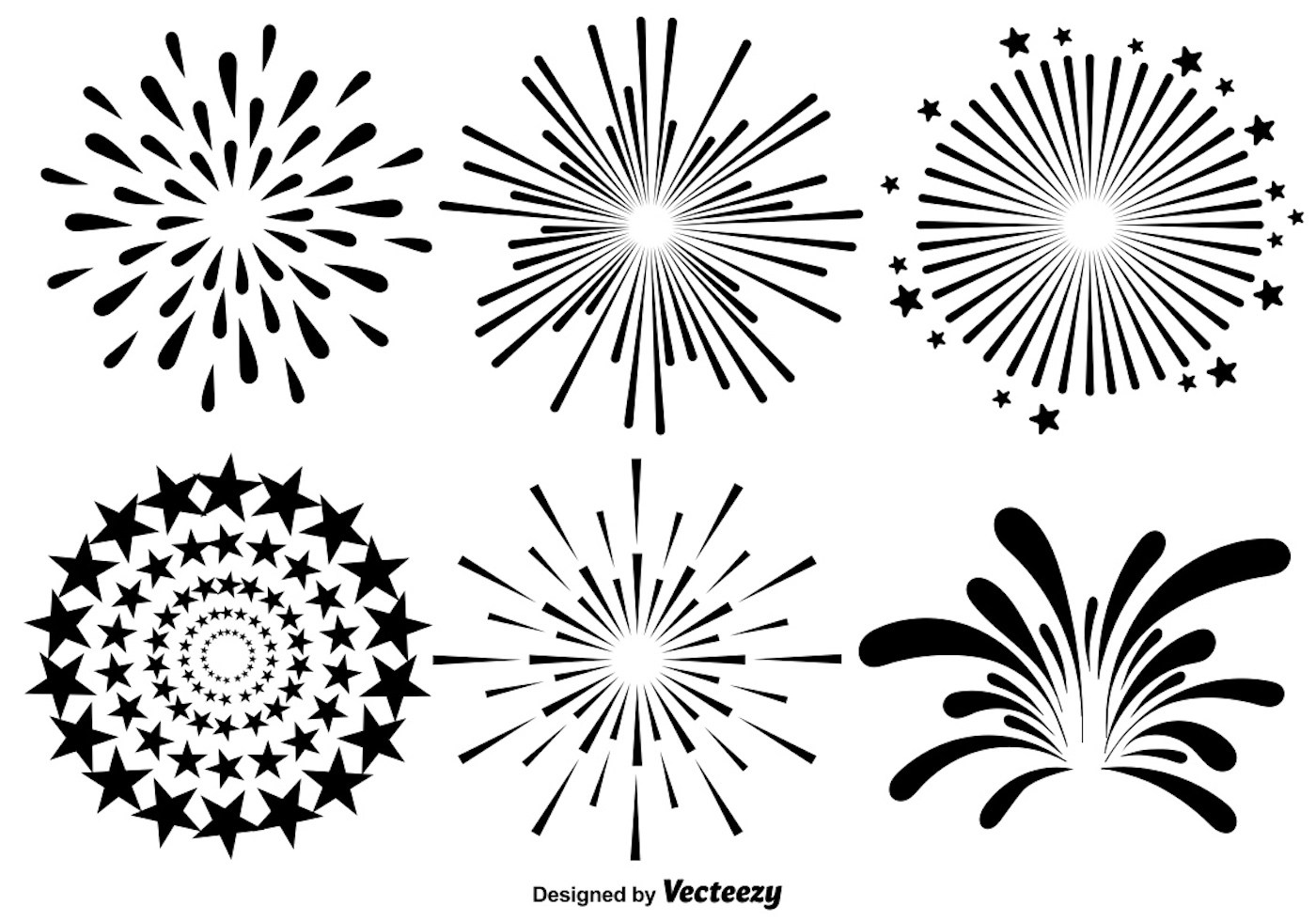 Vector Set Of Fireworks Illustrations On White Background