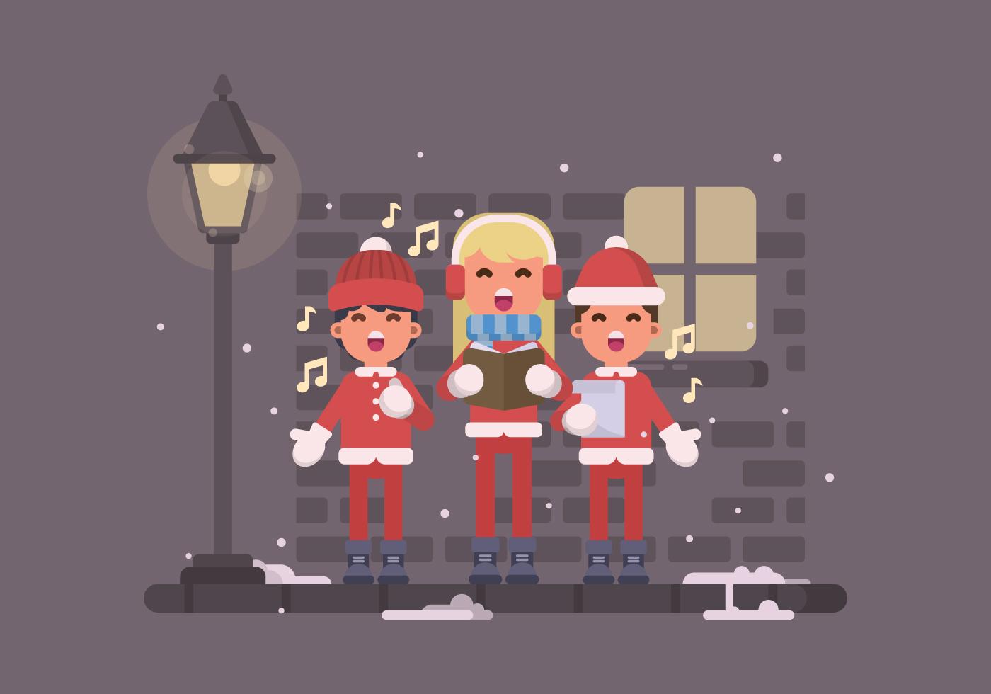 Young Kids Singing Christmas Carols On The Street