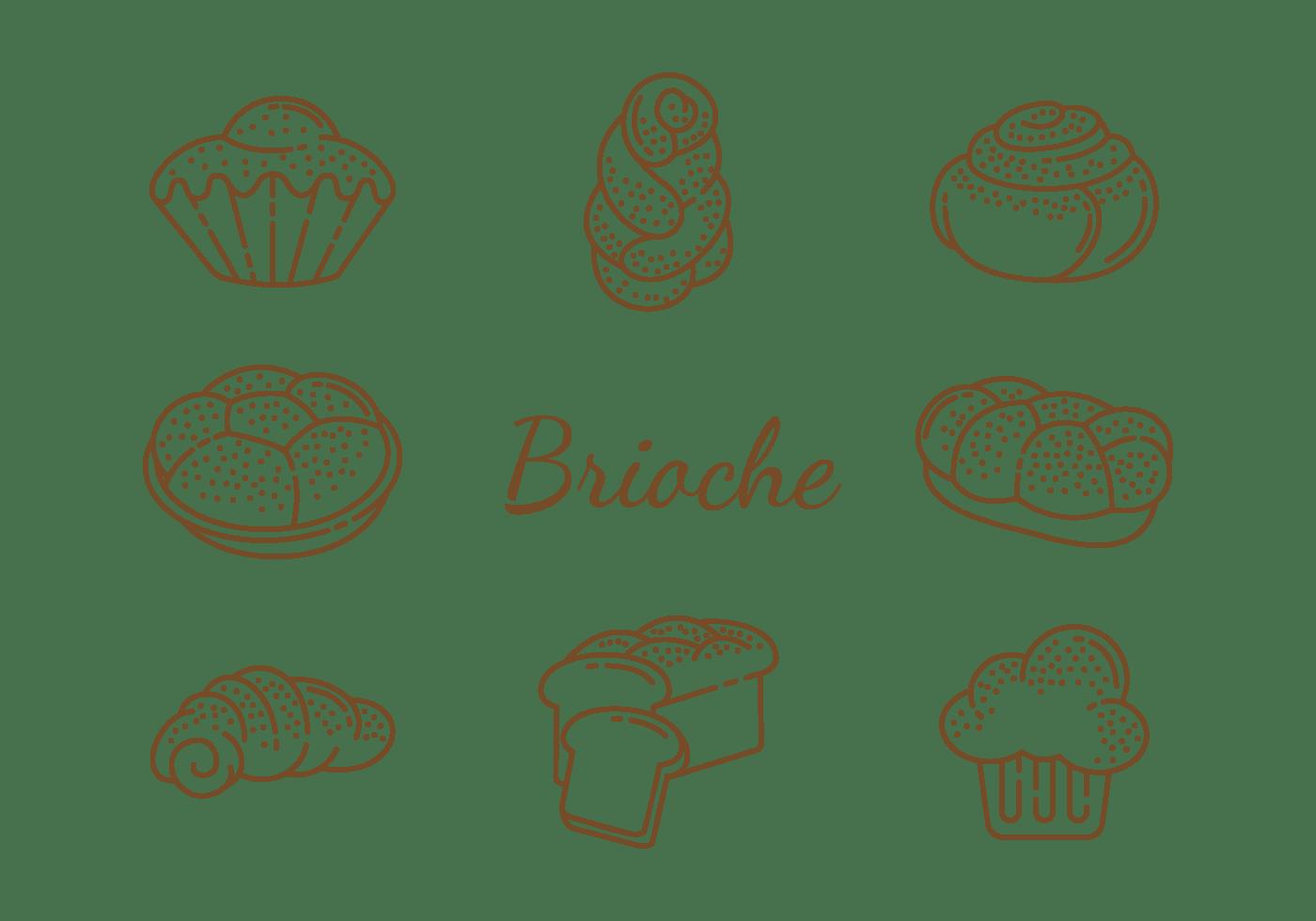 Brioche Icons Vector