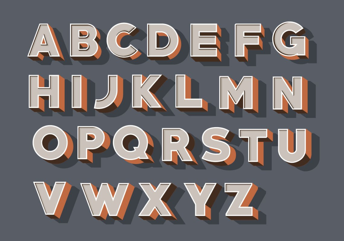 Download 3D Fonts Vector Pack - Download Free Vectors, Clipart ...