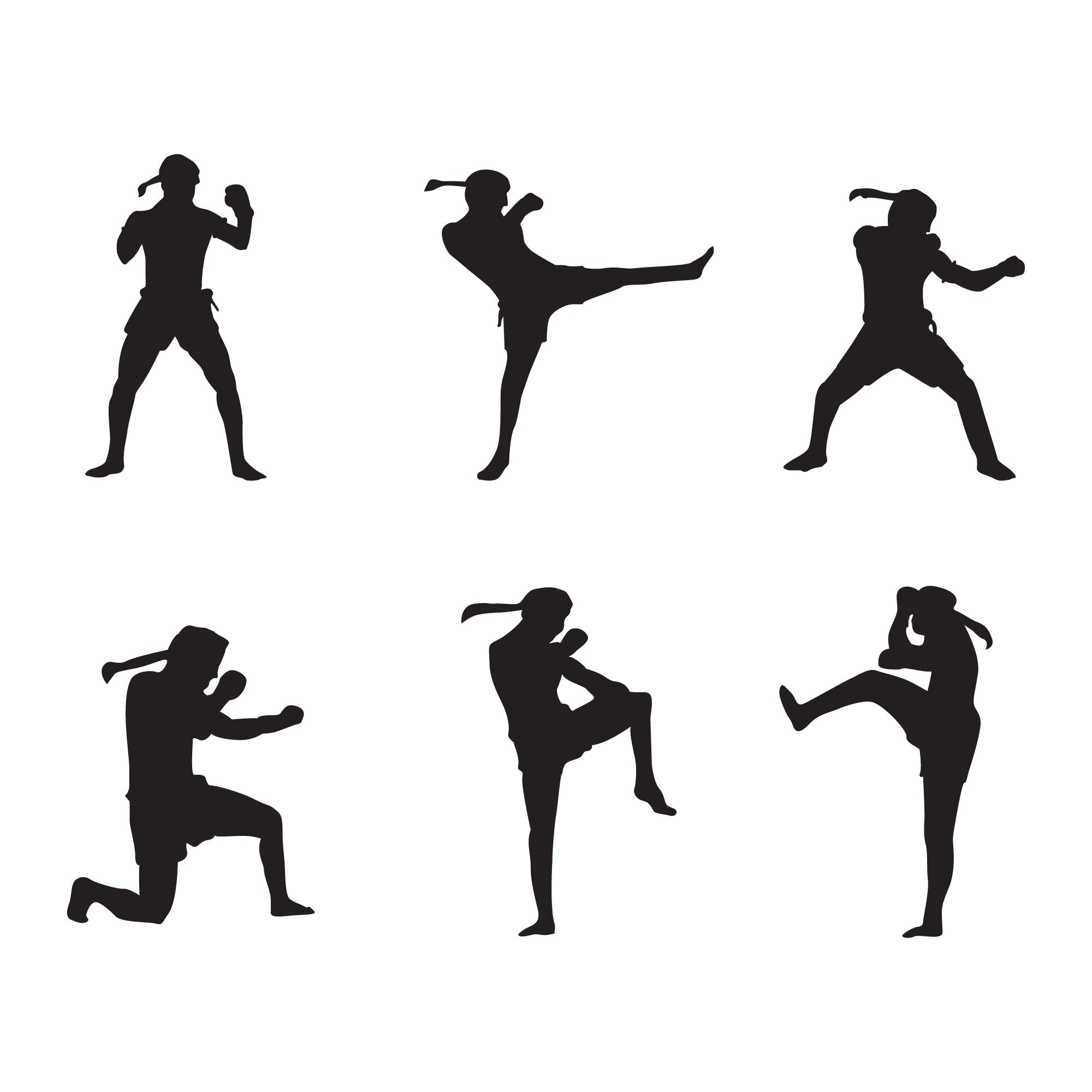Muay Thai Logo Silhouette Vector