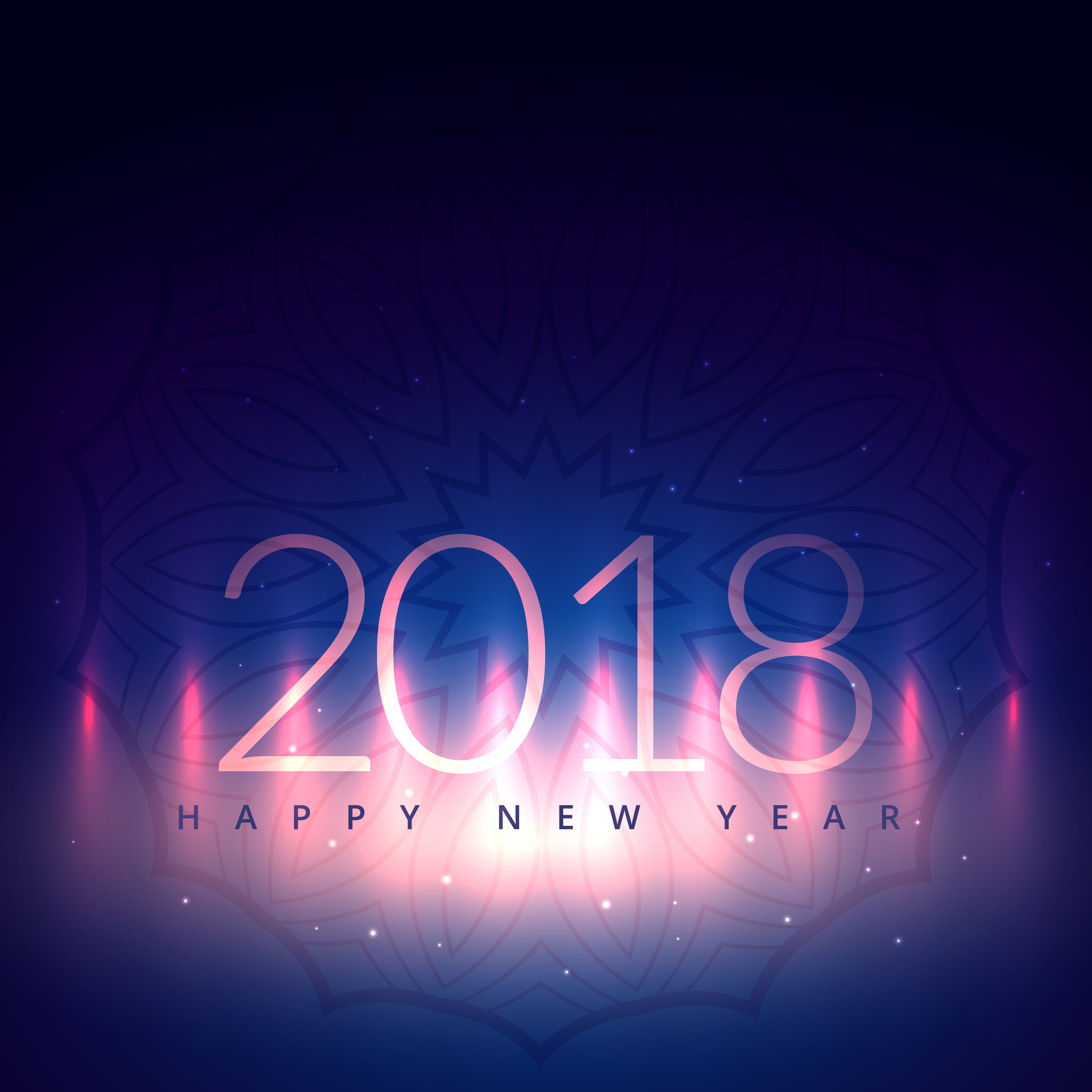 2018 New Year Card Design With Light Effect Download