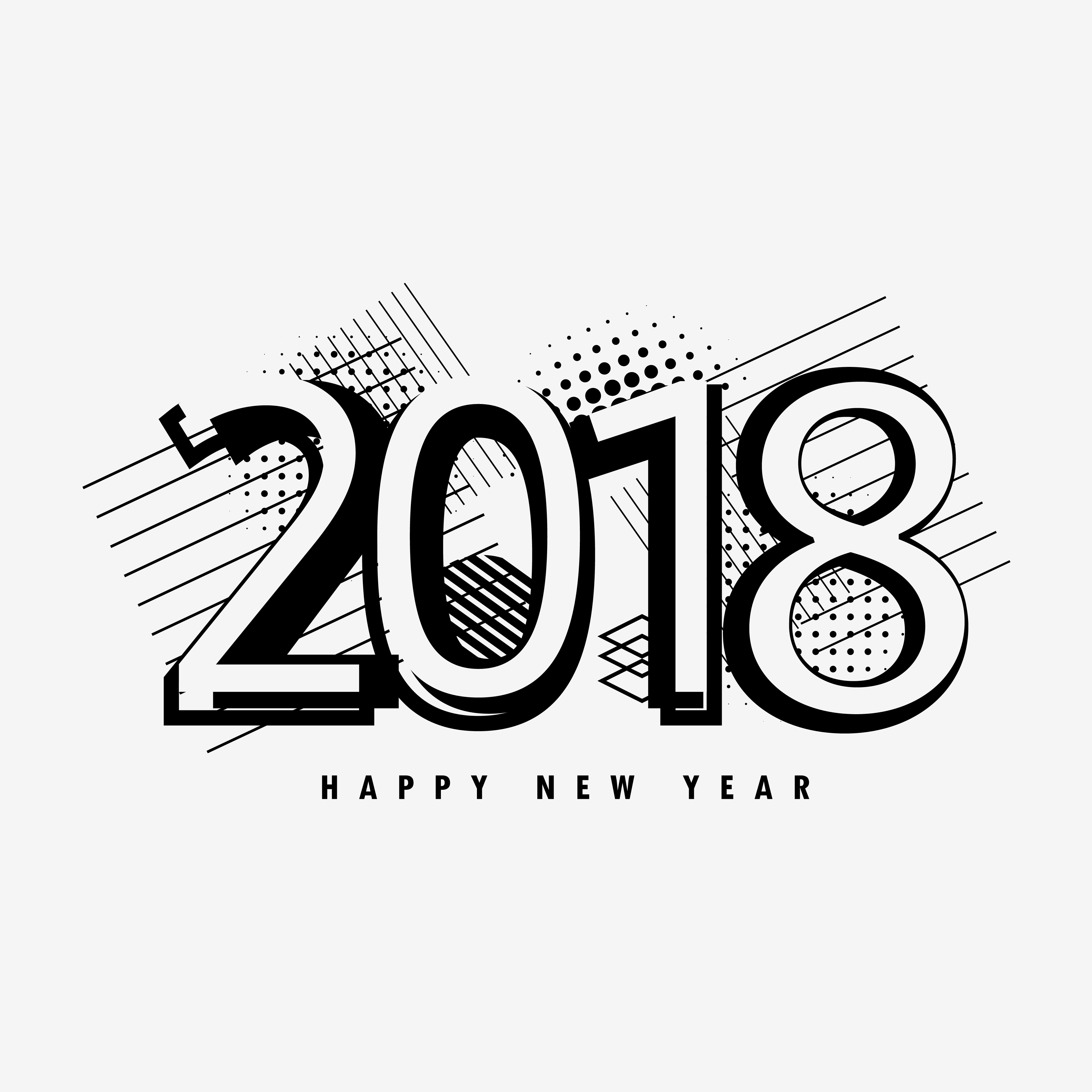Abstract Happy New Year Text Design