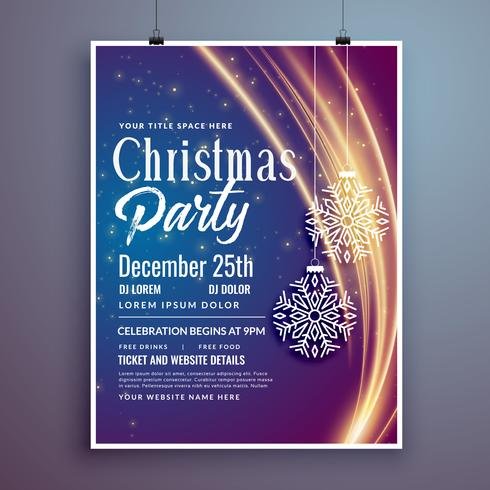 Christmas Party Event Invitation Template Design Flyer