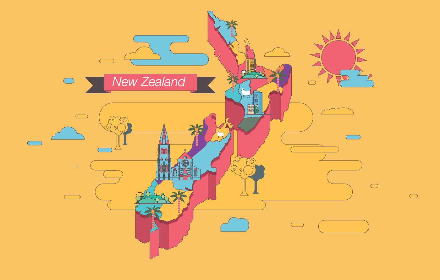 Nova Zelândia Mapa Vol 2 Vector