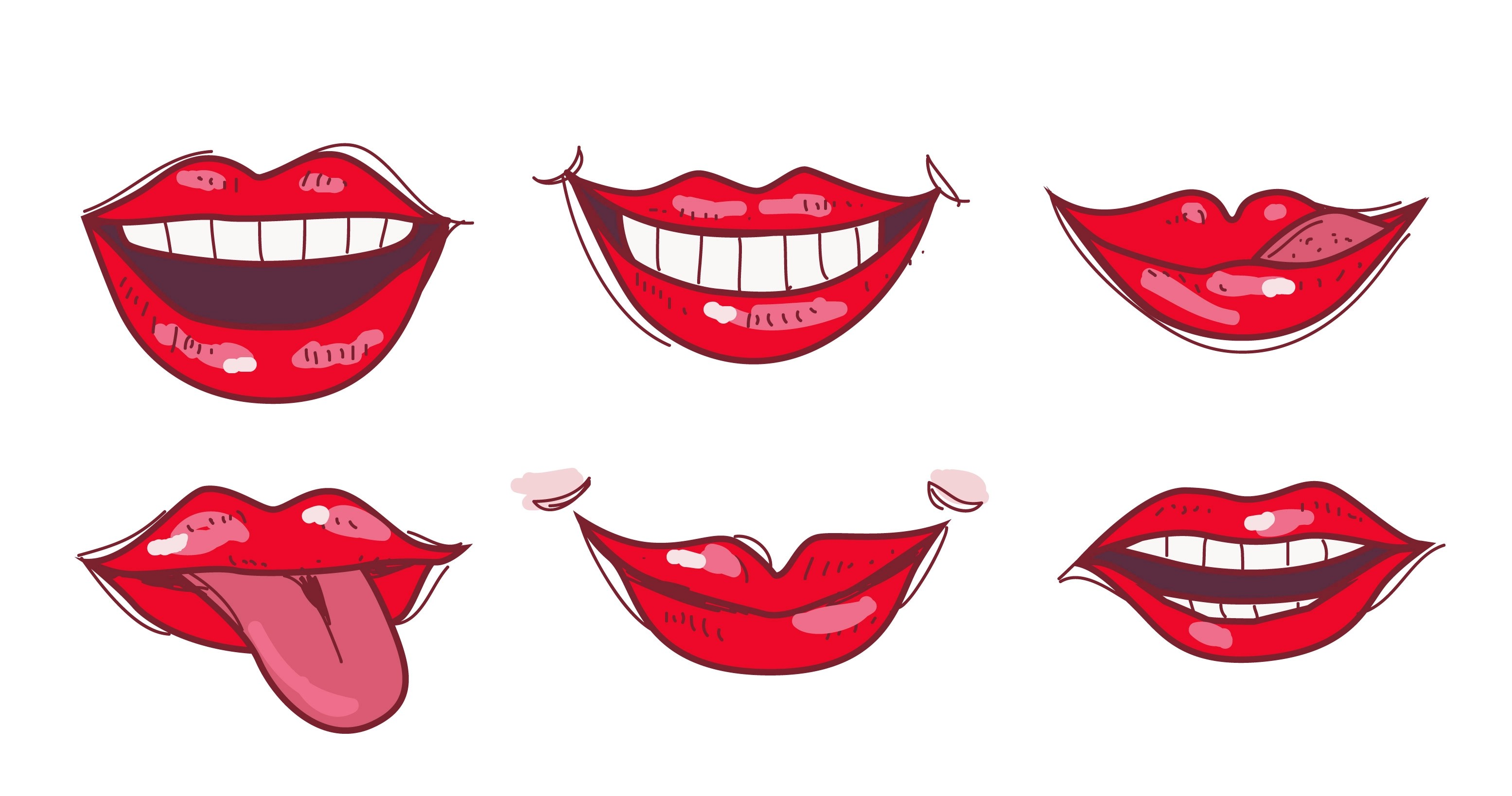 Y Red Lips Hand Drawn Vector Illustration