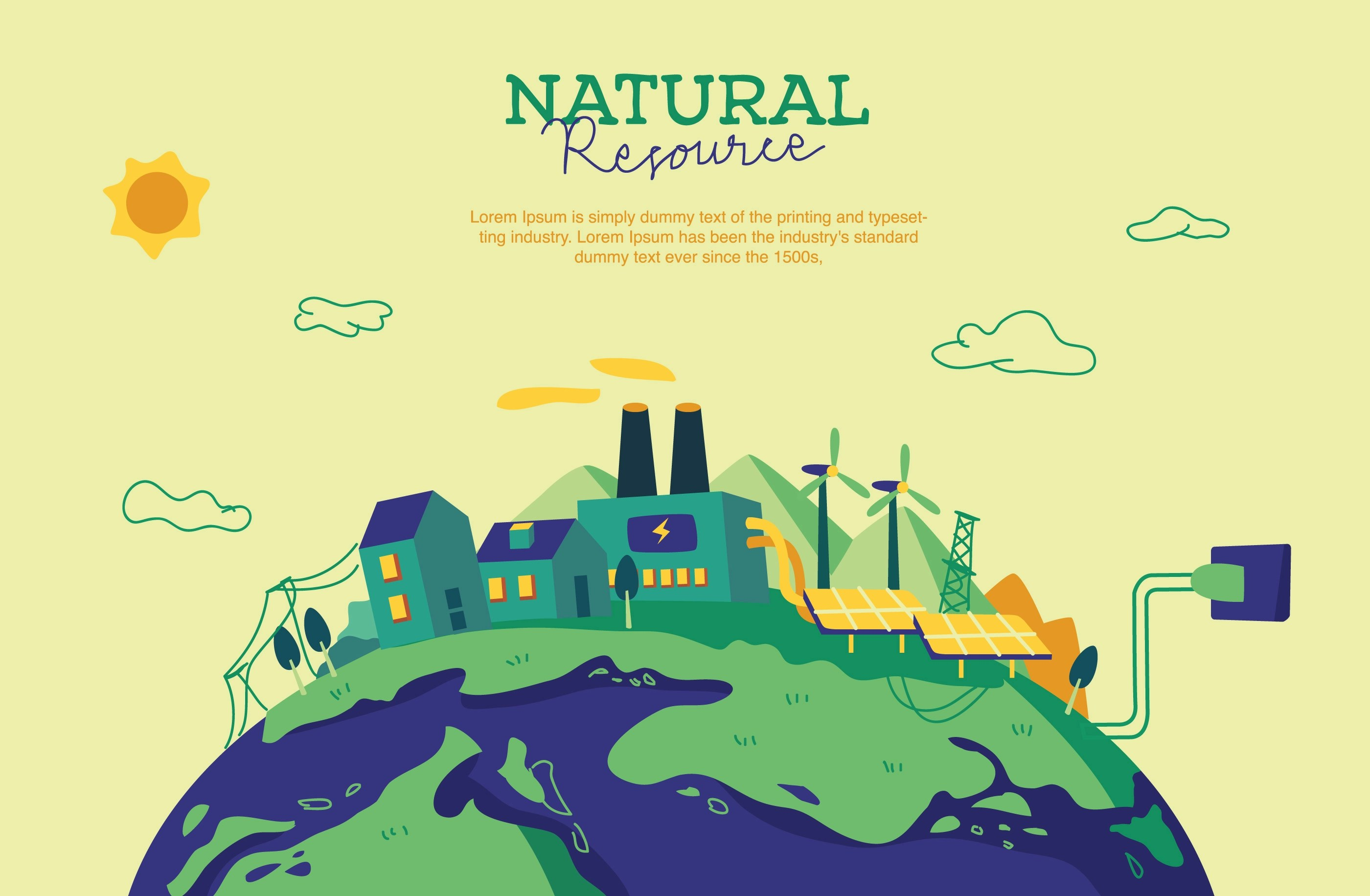 Natural Resource Background Vector Illustration