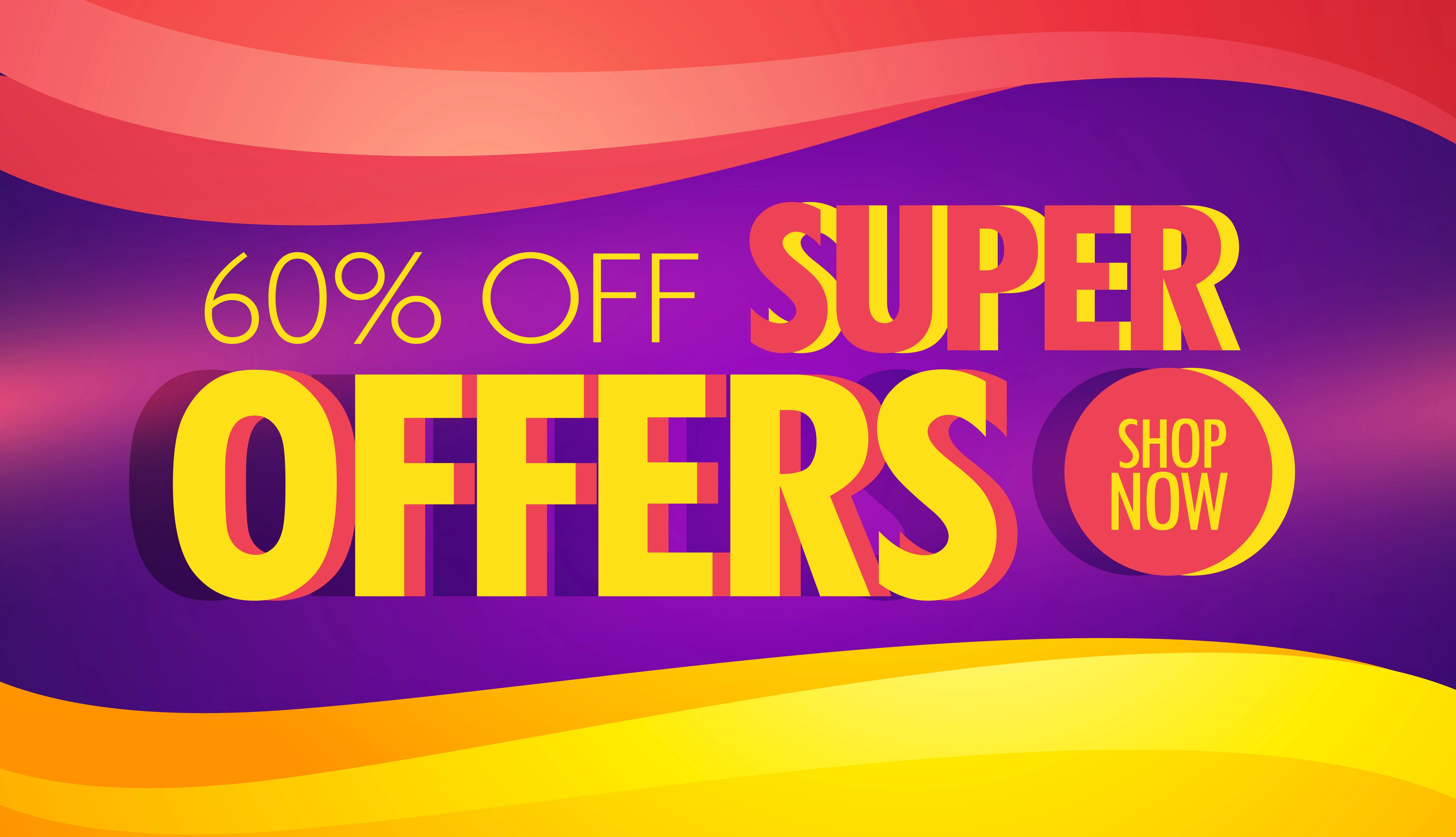Super Offer Advertising Banner Template With Colorful Waves Download Free Vector Art Stock