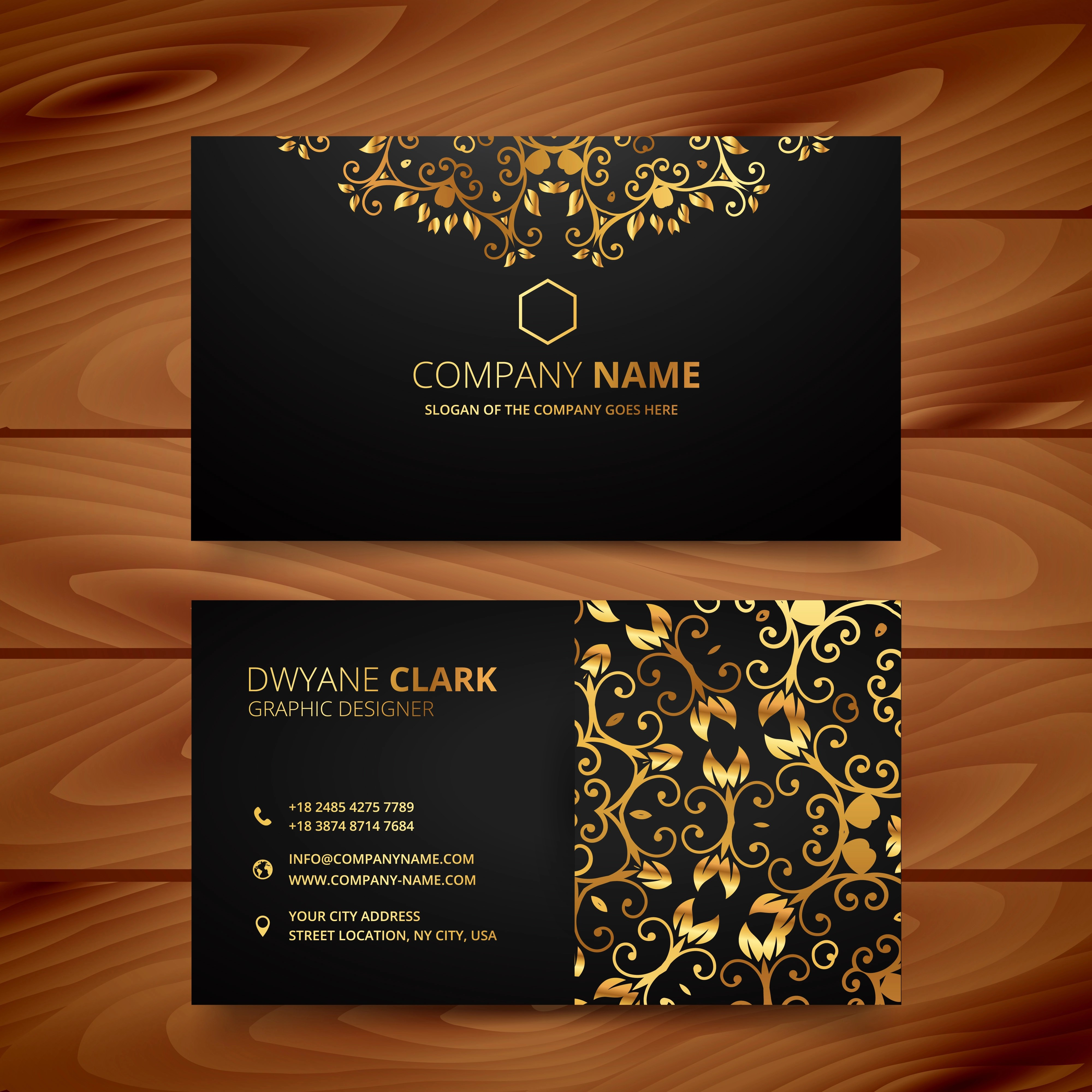 Stylish Golden Premium Luxury Business Card Template