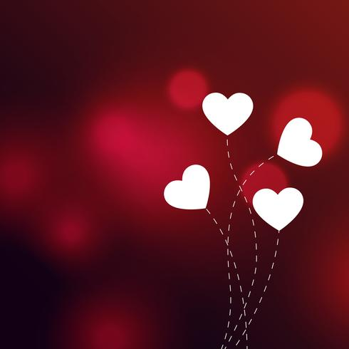 Elegant Hearts On Red Bokeh Background Download Free