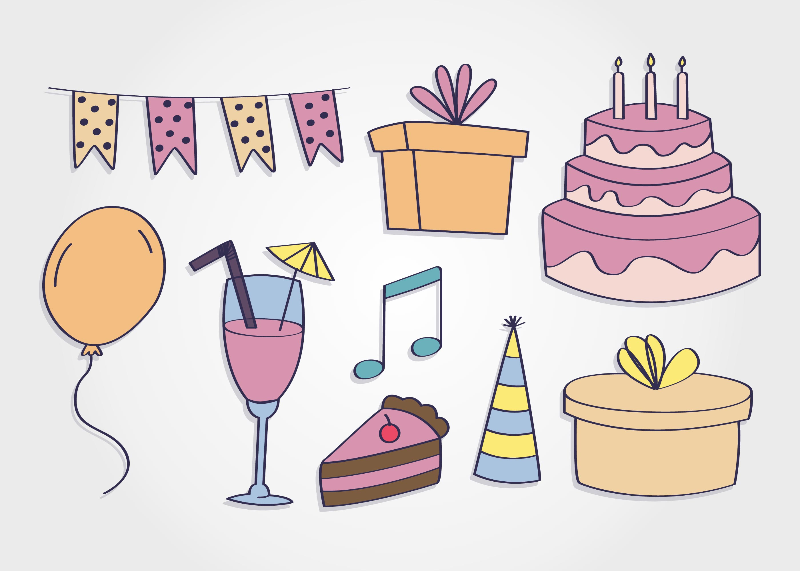Birthday Party Elements Vector Download Free Vectors