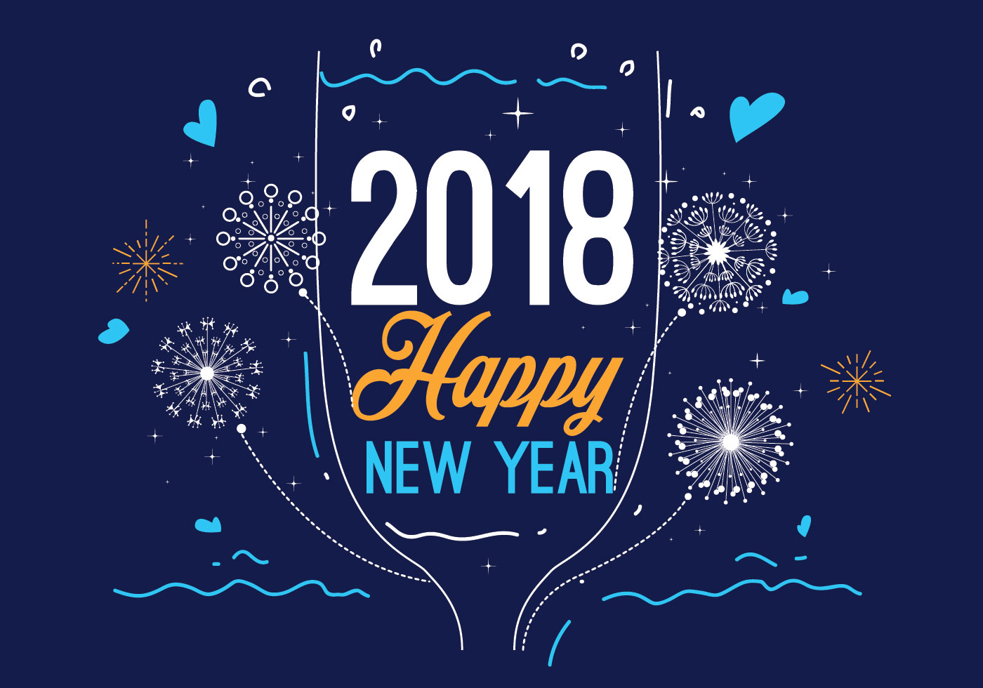 Happy New Year Blue Color Vector