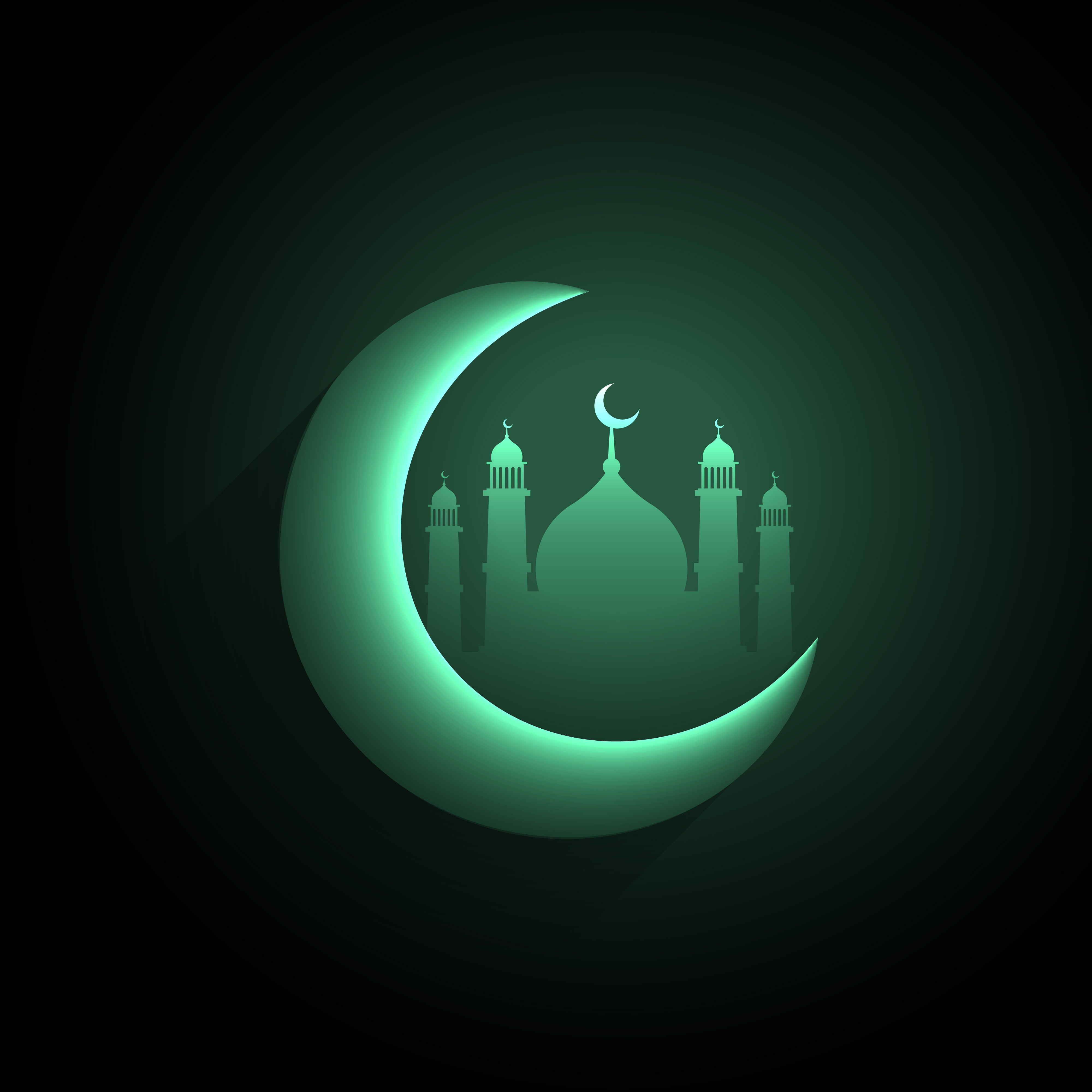 Shiny Crescent Moon With Mosque