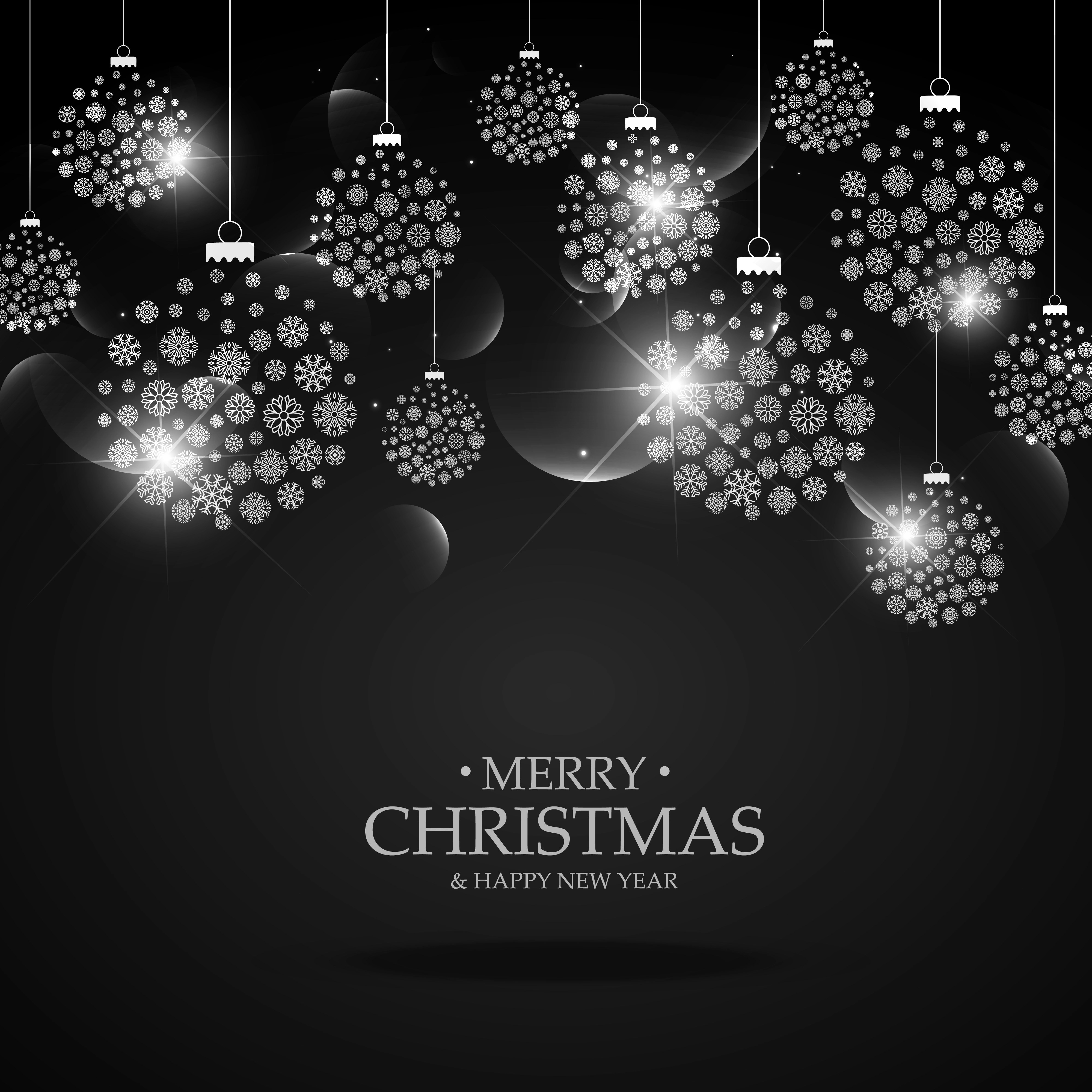 Black Background With Hanging Christmas Festival Balls