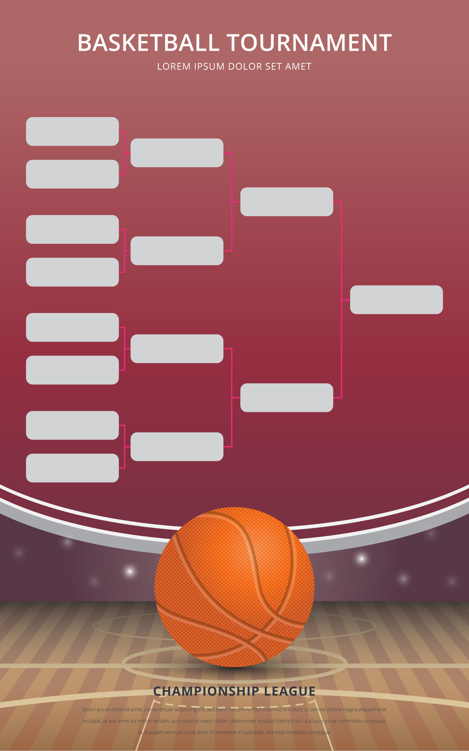 Basketball Tournament Bracket Poster Template Download Free Vector Art Stock Graphics Images