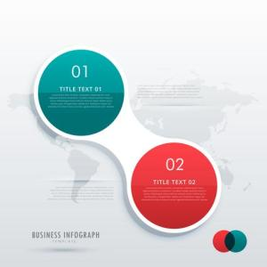 two steps option infographic template in circle style for workfl     two steps option infographic template in circle style for workfl