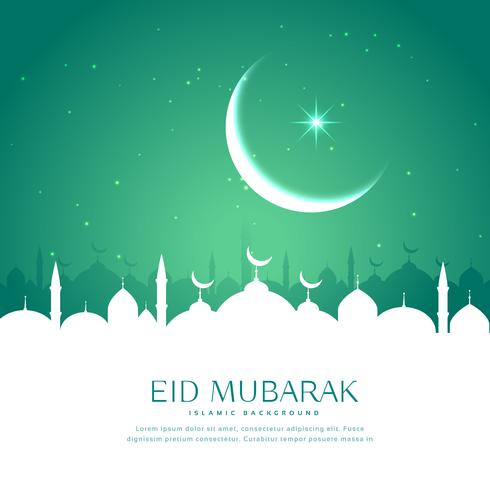 Eid Greeting Background With Mosque Silhouette In White Download