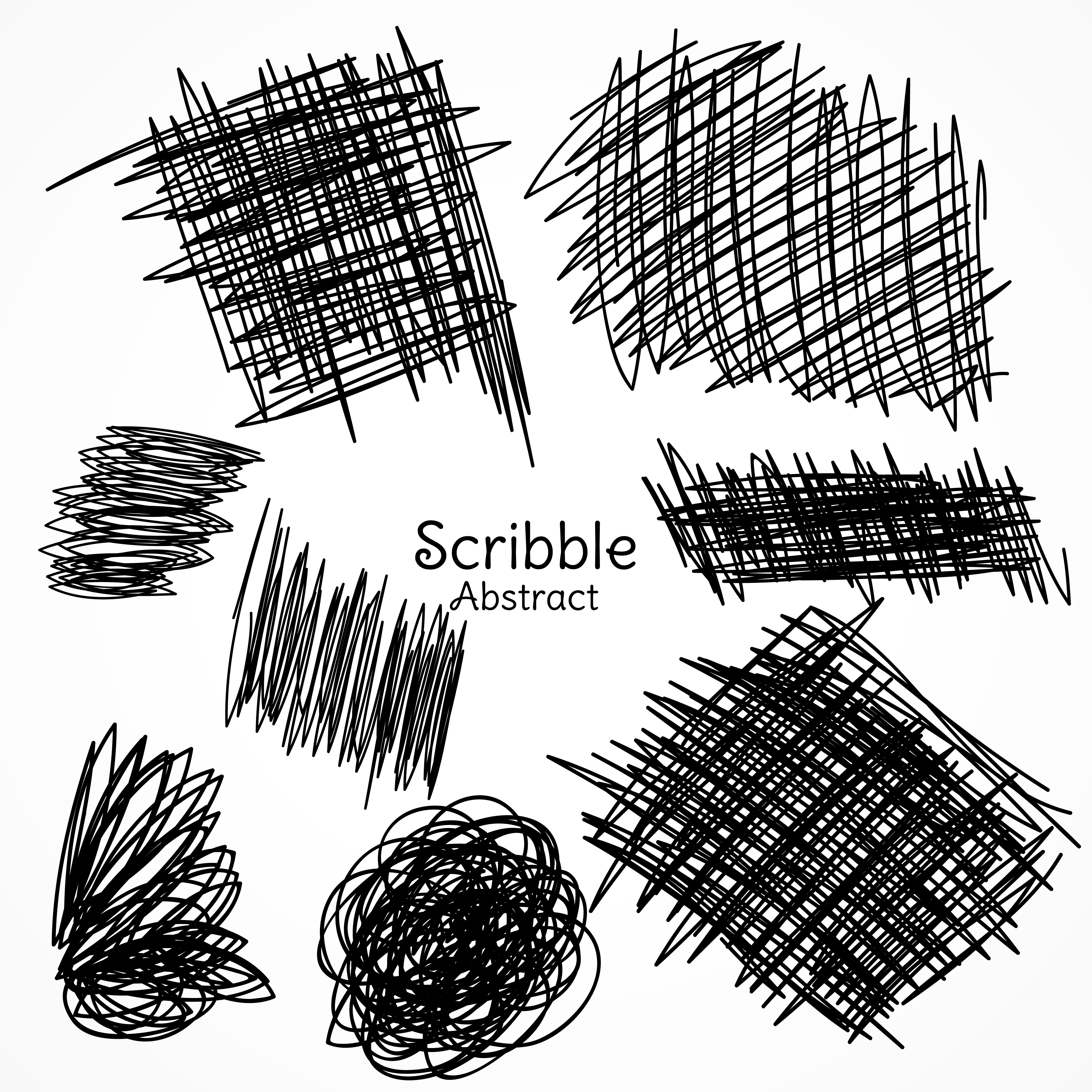 Ink Lines Of Pen In Scribble Style Hand Drawn Set