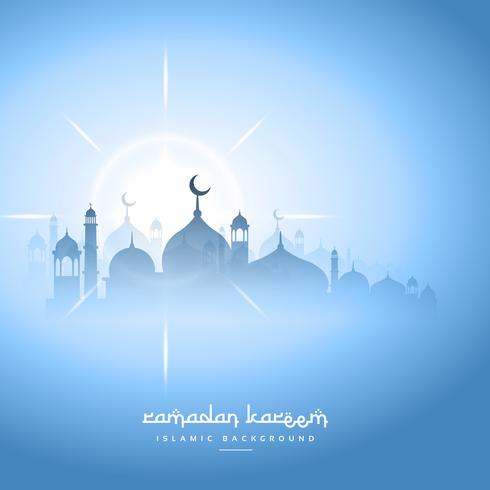 Blue Sky Ramadan Kareem Background With Mosque Silhouette Download