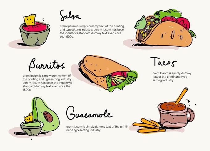 Mexican Food Menu Hand Drawn Vector Illustration Download Free Vectors Clipart Graphics Vector Art